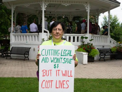 Bramptonians gather to protest province's cuts to legal aid